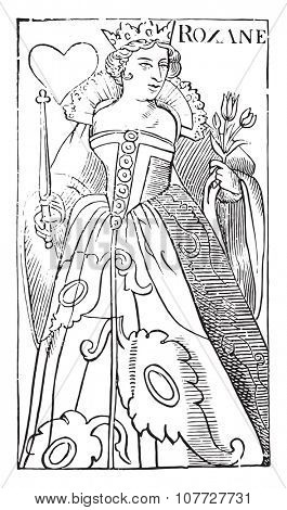Roxane, Queen of Hearts, specimen of the time of Henry IV (National Library of Paris, prints practice), vintage engraved illustration. Industrial encyclopedia E.-O. Lami - 1875.