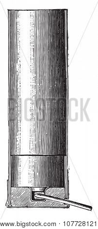 Cartridge spindle, vintage engraved illustration. Industrial encyclopedia E.-O. Lami - 1875.