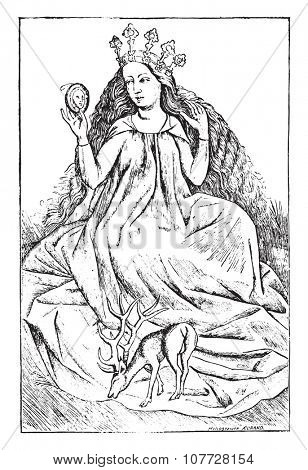 La Demoiselle, after a game of cards with severe 1466,The Master (National Library of Paris, prints practice), vintage engraved illustration. Industrial encyclopedia E.-O. Lami - 1875.