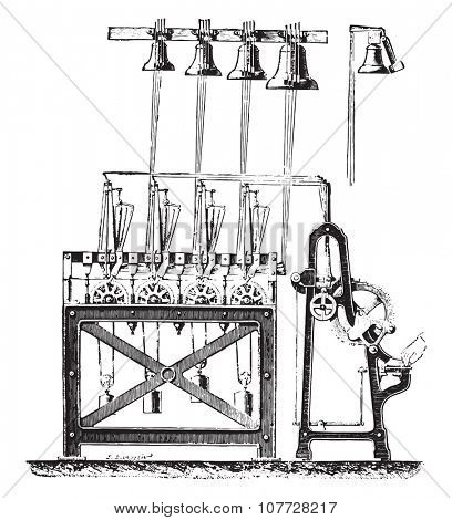 Final system carillon tower Saint-Germain Auxerrois, vintage engraved illustration. Industrial encyclopedia E.-O. Lami - 1875.