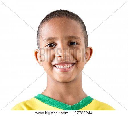 Brazilian cute boy isolated on white background
