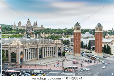 Plaza d'Espanya or Spain square. Barcelona, Spain.