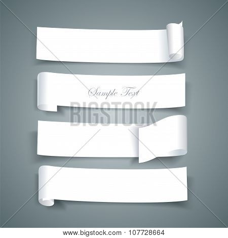 White Paper Roll Ripped Design Collections, Vector Banners, Paper Ribbons