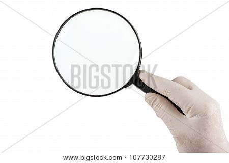 Holding a magnifying glass on white background
