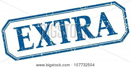 Extra Square Blue Grunge Vintage Isolated Label