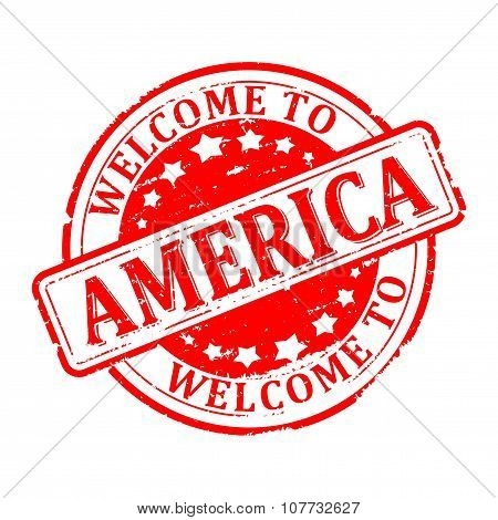 Damage To Red Stamp With The Words - Welcome To America - Illustration