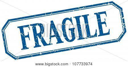 Fragile Square Blue Grunge Vintage Isolated Label