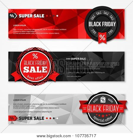 Black Friday Total Sale Horizontal Banners Set.
