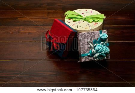 Presents On The Wooden Table