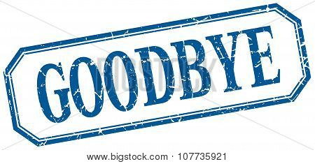 Goodbye Square Blue Grunge Vintage Isolated Label