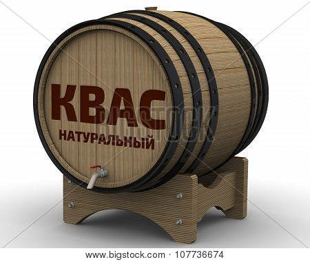 Kvass natural. The inscription on the wooden barrel