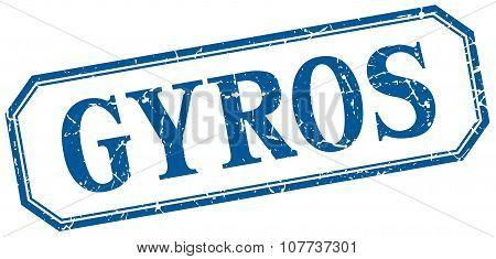 Gyros Square Blue Grunge Vintage Isolated Label
