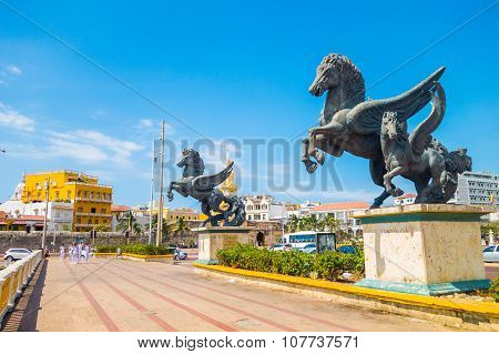 Los Pegasos sculpture in the beautiful streets of Cartagena, Colombia