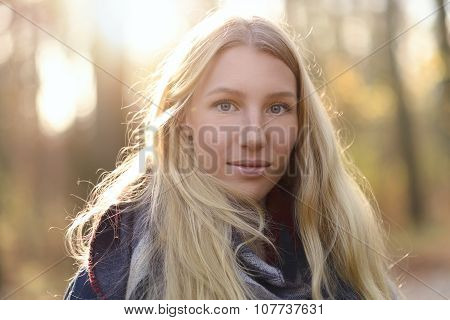 Attractive Blond Woman In Autumn Fashion