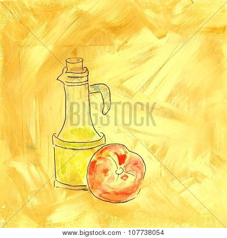 A mixed media drawing of a bottle of olive oil and a tomato on an artistic acrylic background