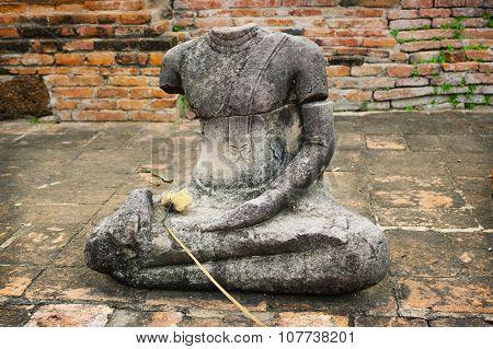 Headless Buddha Statue At Wat Mahathat, Ayutthaya, Thailand