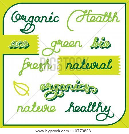 Labels set for natural products, food, organics. Lettering vector illustration