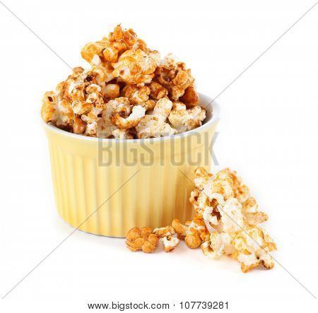 Sweet caramel popcorn isolated on white background