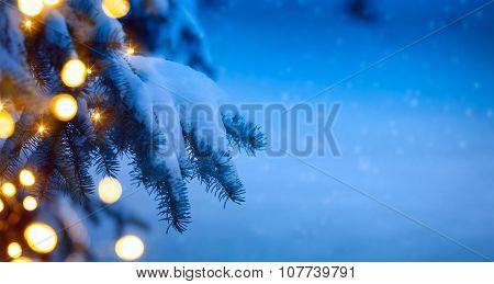 Christmas Tree Light; Blue Snow Background