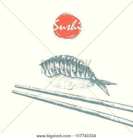 Sushi And Chopsticks Sketch Background.