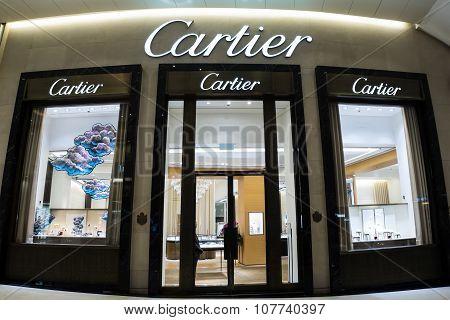 Cartier Fashion House Boutique Display Window. Hong Kong