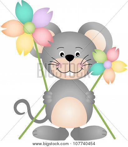 Cute mouse holding two flowers