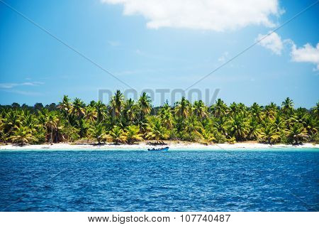 Adventure Speedboat In The Blue Carribean Sea Near Saona Island, Dominican Republic
