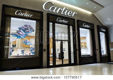 Cartier Fashion House Boutique Display Window. Hong Kong