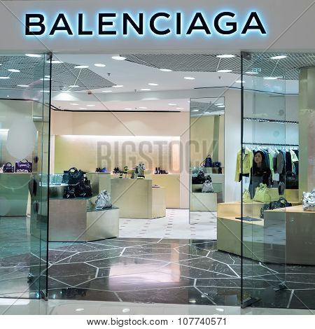 Balenciaga Fashion Boutique Display Window. Hong Kong