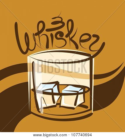 vector glass of whiskey with ice and calligraphic inscription