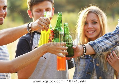 View on smiling friends clinking bottles in the forest, close-up