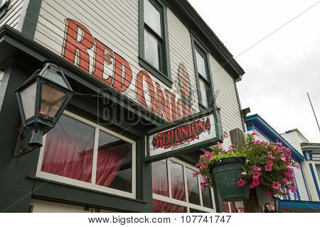 Skagway, Alaska, Usa - September 20, 2011 - The Red Onion Saloon Is Open To Cruise Ship Tourists.