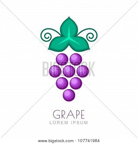 Vector Grape With Leaf, Logo Design Template.