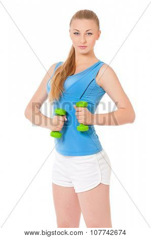 Portrait of pretty sporty girl holding weights isolated on white background
