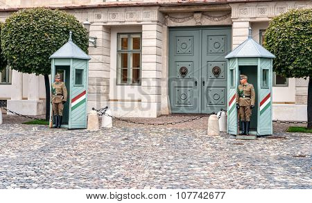 Budapest, Hungary - October 12, 2015 : Ceremonial Guard At The Presidential Palace. They Guard The E