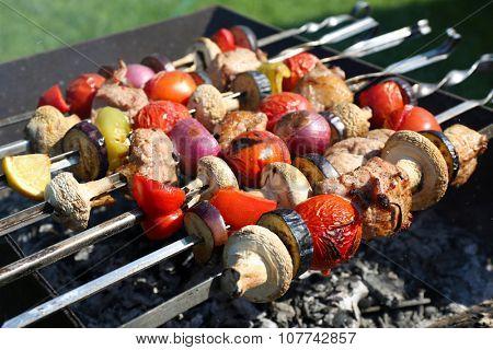 Barbecue in brazier closeup
