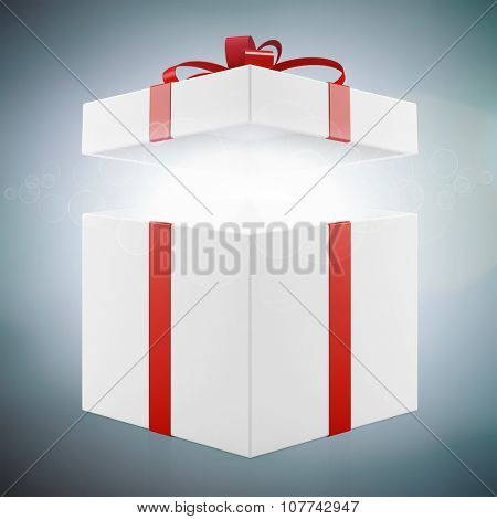 Christmas gift with open lid glowing from inside (3D Rendering)