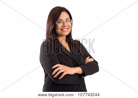 Hispanic happy confident business woman - isolated on white