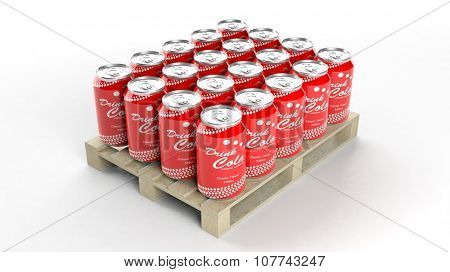 Aluminium cola cans set on wooden pallet, isolated on white background.