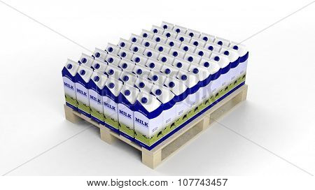 Milk boxes set on wooden pallet, isolated on white background.