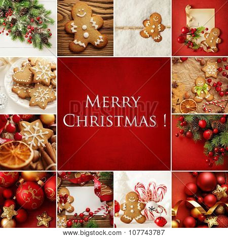 Christmas collage with decorative christmas gingerbread cookies and ornaments