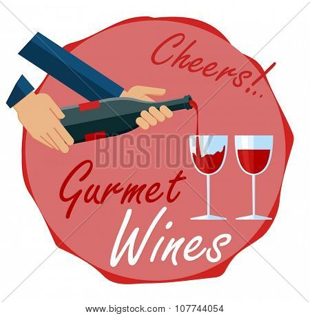 Hands holding  bottle and poring a glassess of wine