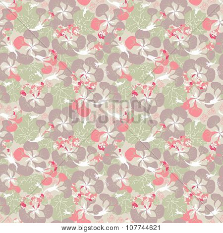 seamless ornament of pink Nasturtium plant