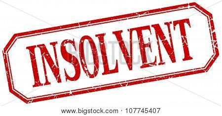 Insolvent Square Red Grunge Vintage Isolated Label