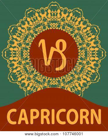 Capricorn. Goat. Zodiac icon with mandala print. Vector illustration.