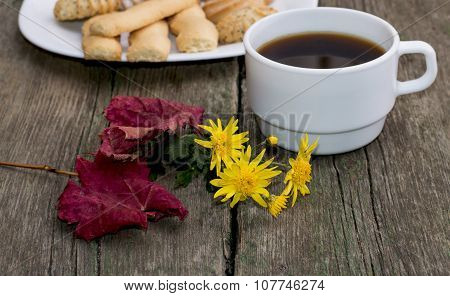Coffee, Autumn Leaf, Flower And Plate With Sweets