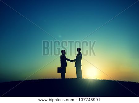 Corporate Businessmen Shaking Hand Outdoors Concept