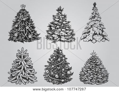 Silhouetted Christmas Tree Vector Pack to create holiday cards, backgrounds and decorations.