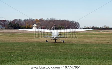 Tail of Single Engine Prop Plane about to Take Off