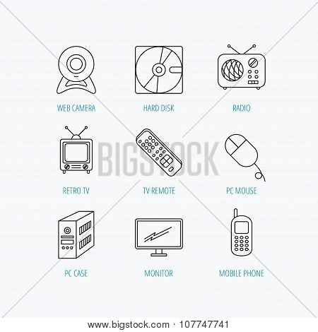 Web camera, radio and mobile phone icons.